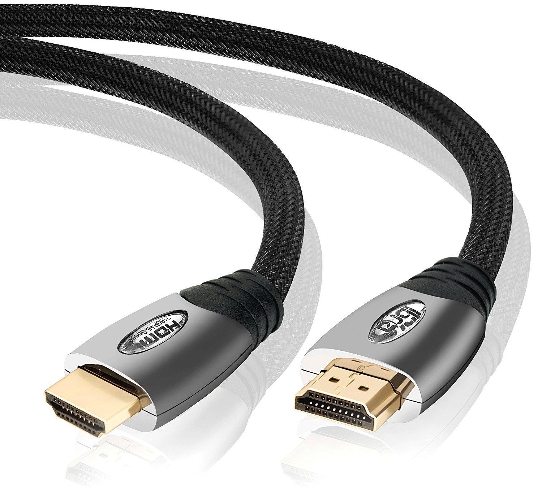 High Speed HDMI Cable v2.0/1.4a 18Gbps 3D TV 2160p PS4 SKY HD 4K@60Hz Ultra HD Ethernet Audio Return Virgin BT Gold Connectors Nylon Braided - 2M - IBRA PLATINUM