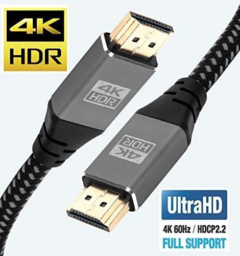 4K HDMI Cable 6M HDMI Lead - Ultra High-Speed 18Gbps HDMI 2.0b Cord 4K@60Hz Support Fire TV, Ethernet, Audio Return, Video UHD 2160p, HD 1080p, 3D for Xbox PlayStation PS3 PS4 PC Projector - IBRA