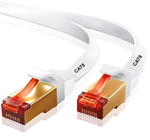 10M CAT8 Ethernet Gigabit Lan network cable (RJ45) SSTP 40Gbps 2000Mhz - FLAT White- IBRA