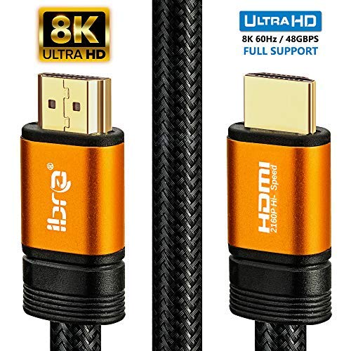 1.5M IBRA Orange 2.1 HDMI Cable - 8K Ultra High-Speed 48Gbps Lead | Supports 8K@60HZ, 4K@120HZ, 4320p, Compatible with Fire TV, 3D Support, Ethernet Function, 8K UHD, 3D-Xbox PlayStation PS3 PS4 PC etc