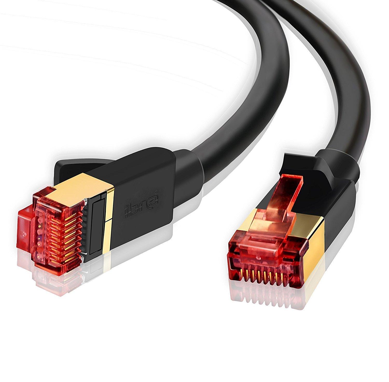 Ethernet Gigabit Lan Network Cable (RJ45) Advanced CAT 7 |Gold Connectors| 10Gbps 600MHz |10/100/1000Mbit/s | Patch cable |STP| compatible with CAT.5 / CAT.5e / CAT.6 | Switch/Router/Modem/Patch panel / Access Point / patch fields | 10M IBRA Round Black