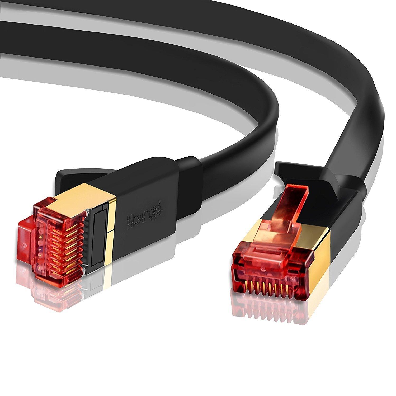 Ethernet Gigabit Lan Network Cable (RJ45) Advanced CAT 7 |Gold Connectors| 10Gbps 600MHz |10/100/1000Mbit/s | Patch cable | STP | compatible with CAT.5 / CAT.5e / CAT.6 | Switch/Router/Modem/Patch panel / Access Point / patch fields | 1M IBRA Flat Black