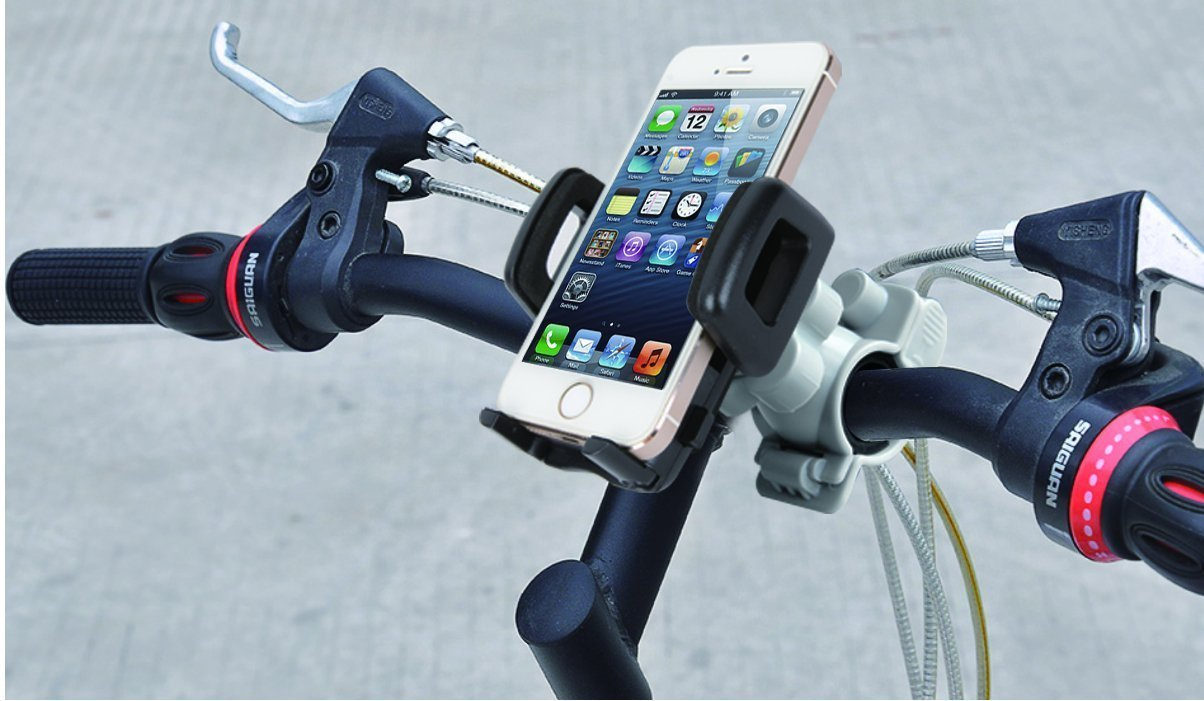 IBRA Universal Bike Bicycle Mount Holder Handlebar for Most Cell Phones - iPhone 6 5C 5S 4S,The HTC One, Samsung Galaxy S5/S4, Sony Xperia Z, Google Nexus 4 5 Moto G Phone Samsung Galaxy S3, Note 2, Lumia 520 HTC One S, Lumia 920 (Maximum Width 85mm) 360