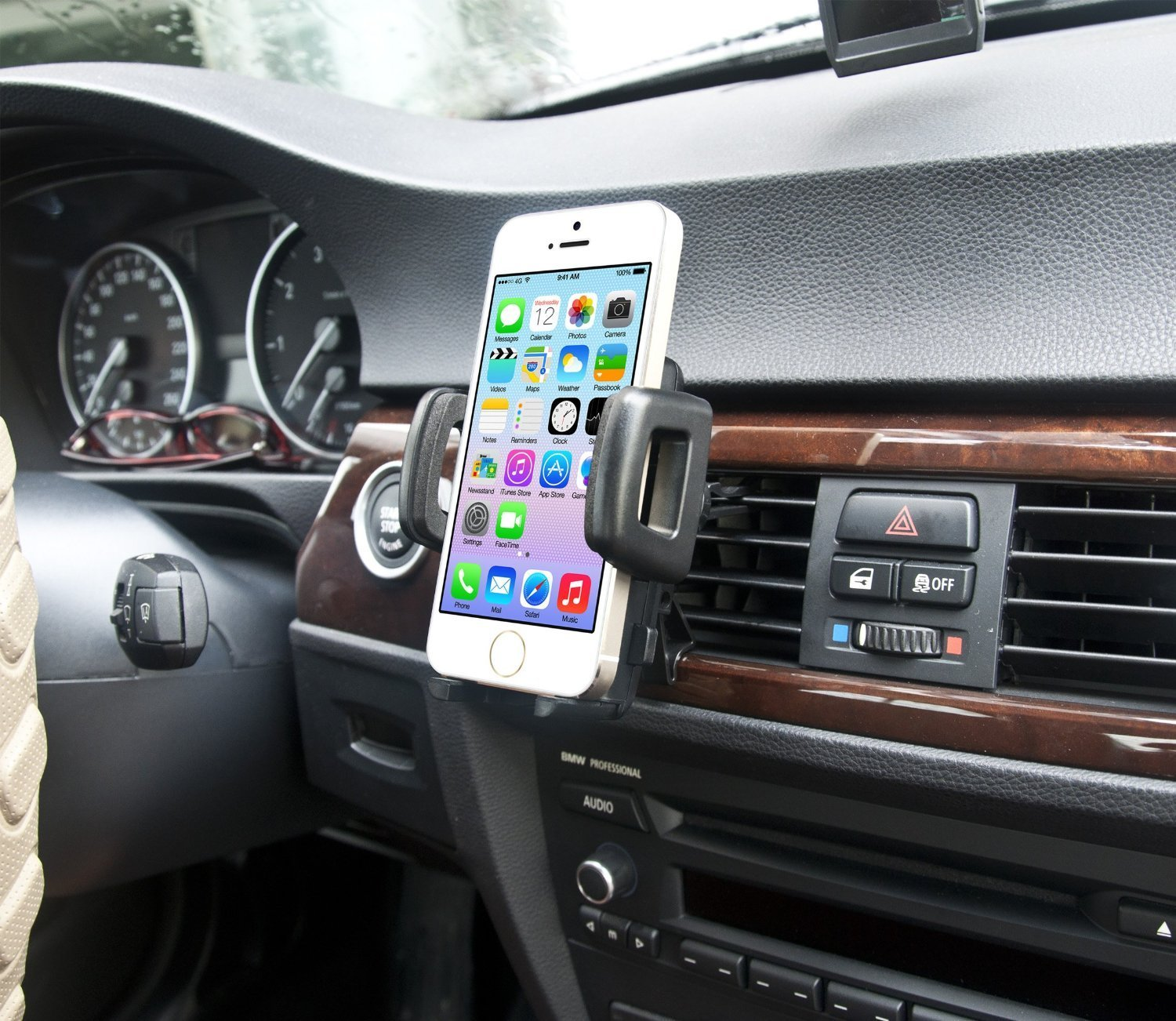 IBRA Dedicated Air Vent Car Holder Mount Black Vehicle Louvers Phone Cradle Mount For Apple Iphone 6 / 6 Plus / 5 / 4 / 4s / 3G / 3 and IPOD series 2015 Model