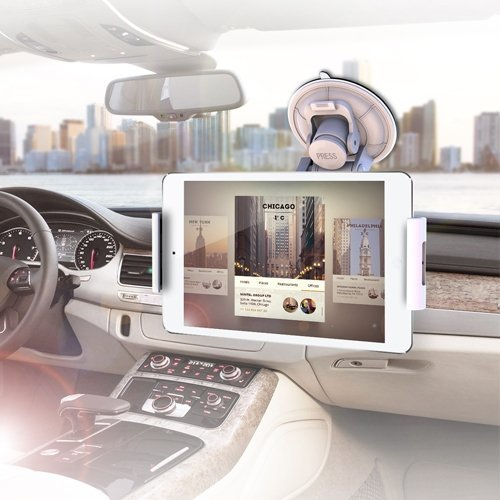 IBRA Windscreen In Car Suction Mount Holder with FULL 360 Degrees Rotation For Apple ipad 1/Ipad 2/ and iPad 3/4,Samsung Galaxy Tab 7.0 8.0 10.1 3 / Kindle Fire HDX 7 8.9 / Google Nexus 7 FHD 7 and many other models - White